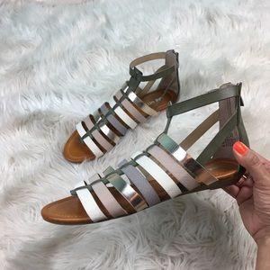 Nine West   Flat Gladiator Gold Sandals   Size 8.5